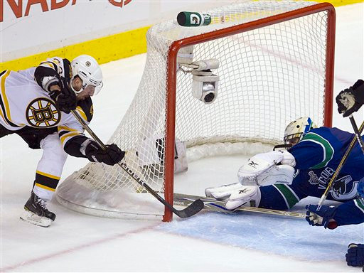 Boston Bruins left wing Brad Marchand scores against Vancouver Canucks goalie Roberto Luongo during the second period of Game 7 of the NHL hockey Stanley Cup Finals on Wednesday, June 15, 2011, in Vancouver, British Columbia. (AP Photo/The Canadian Press, Jonathan Hayward)