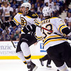 Brad Marchand celebrates with Zdeno Chara after scoring against the Vancouver Canucks during the second period of Game 7. (AP Photo/The Canadian Press, Darryl Dyck)