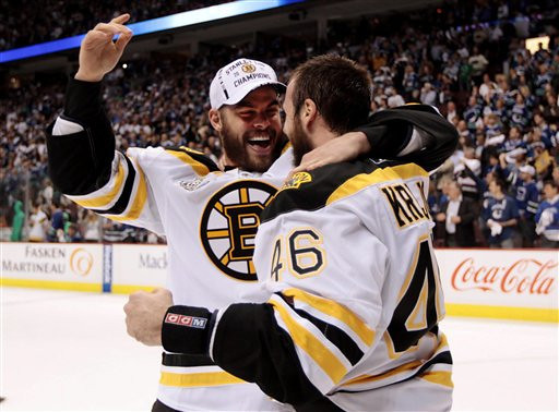 Boston Bruins' Nathan Horton, left, celebrates with David Krejci following the Bruins' 4-0 victory over the Vancouver Canucks in Game 7 of the NHL hockey Stanley Cup Finals on Wednesday, June 15, 2011, in Vancouver, British Columbia. (AP Photo/The Canadian Press, Jonathan Hayward)