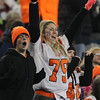 Beverly seniors Courtney Bennett, left, and Brittany Barber, scream with excitement after the Panthers scored their fourth touchdown of the evening, putting Beverly up 28-14 over the Red Hawks of Natick. The Panthers would go on to win 28-21 and capture the D2A Super Bowl at Gillette Stadium in Foxborough. David Le/Staff Photo