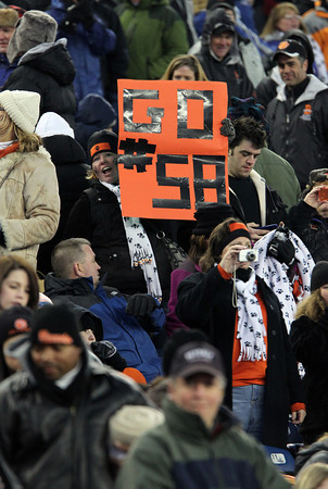 """A Beverly Panther fan holds up a """"Go #58"""" sign in the crowd at Gillette Stadium in Foxborough on Saturday evening as Beverly captured their second Super Bowl title in three years with a 28-21 win over Natick. David Le/Staff Photo"""