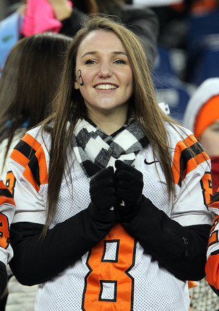 Beverly junior Kelsey Wood cheers on the Panthers as they took on Natick in the D2A Super Bowl at Gillette Stadium in Foxborough on Saturday evening. Beverly took home it's second Super Bowl title in three years with a 28-21 victory over the Red Hawks. David Le/Staff Photo