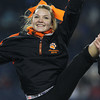 Beverly High School freshman cheerleader Alexandra Lurie cheers on the Panthers as they took on Natick in the D2A Super Bowl at Gillette Stadium in Foxborough on Saturday evening. David Le/Staff Photo