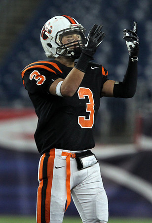 Beverly senior Ryan Shipp pumps up a large crowd of Beverly supporters on Saturday evening at Gillette Stadium in Foxborough during the Panthers 28-21 victory over Natick to capture the D2A Super Bowl. Shipp and the Panthers won their 2nd Super Bowl in 3 years. David Le/Staff Photo