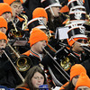 The Beverly High School band trombone section plays the school fight song following a Panther touchdown in the second half of play on Saturday evening. David Le/Staff Photo