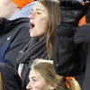 Beverly High School senior Livvy Konaxis cheers on the Panthers during the D2A Super Bowl against Natick on Saturday evening. Beverly captured their second Super Bowl title in three years as they defeated the Red Hawks 28-21 at Gillette Stadium in Foxborough. David Le/Staff Photo