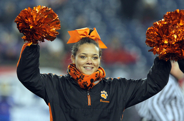 Beverly junior Bri Dotson cheers on the Panthers as they faced Natick in the D2A Super Bowl at Gillette Stadium in Foxborough on Saturday evening. David Le/Staff Photo