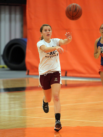 Beverly sophomore Hannah Silvestri passes the ball upcourt during a drill at practice on Friday afternoon. David Le/Staff Photo
