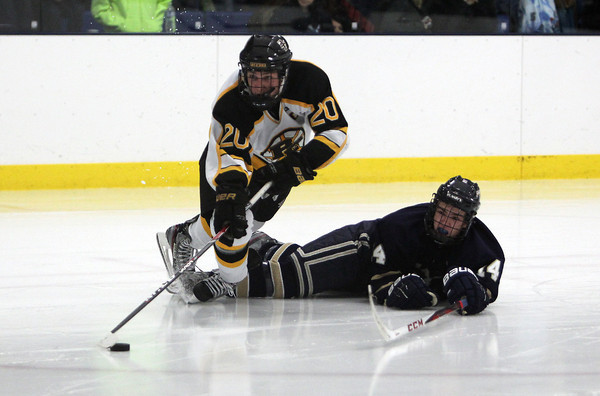 Bishop Fenwick senior captain Mike Napolitano, left, gets tripped up by a St. Mary's player en route to the net on Saturday afternoon. David Le/Staff Photo