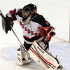 Marblehead junior goalie Myles Barry makes a save against Danvers on Saturday afternoon. David Le/Staff Photo