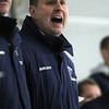 New Pingree Head Coach Gino Khachadourian yells instructions to his team. David Le/Staff Photo