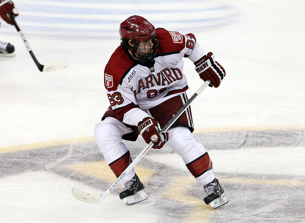 Boston: Harvard sophomore forward Colin Blackwell looks to play the puck against Boston College on Monday evening. David Le/Salem News
