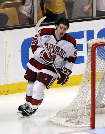 Boston: Harvard sophomore forward Colin Blackwell skates warm up laps prior to the Crimson's Beanpot game against Boston College on Monday evening. David Le/Salem News