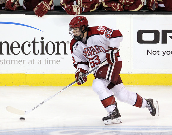 Boston: Harvard sophomore forward Colin Blackwell carries the puck up-ice against Boston College on Monday evening. David Le/Salem News