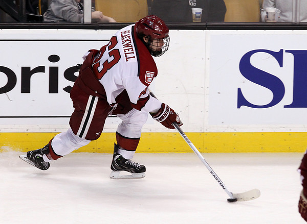 Boston: Harvard sophomore forward Colin Blackwell flies up-ice with the puck against Boston College in the Beanpot Tournament. David Le/Salem News