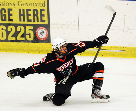 Salem: Beverly  junior forward Graham Doherty celebrates his second goal of the game, giving Beverly a 2-0 lead with 1.2 seconds left in the first period. Doherty scored 4g goals to lead the Panthers past the Headers 5-1 on Friday evening. David Le/Salem News
