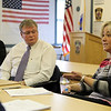Danvers: ________, left, and Danvers Police Chief Neil Ouellette (?), center, listen to new Mental Health Diversion Specialist Danielle Csogi, right, talk about her new position. David Le/Salem News