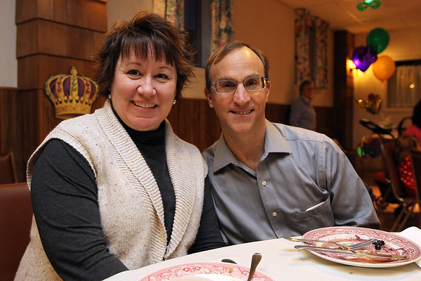 Danvers: Jeanine Cline and Jack Perry, both of Peabody, at the All Saints Episcopal Church Shrove Tuesday Pancake and Sausage Supper on Tuesday afternoon. David Le/Salem News