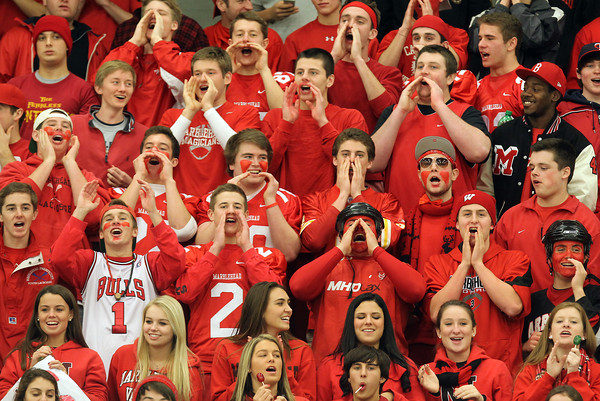 Salem: Marblehead High School fans cheer on the Headers as they took on the Big Blue of Swampscott at Salem State University on Wednesday evening. David Le/Salem News