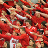 Salem: The Marblehead High School fan section taunts the Swampscott fan section after the Headers scored their fourth goal of the evening. David Le/Salem News