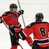 Salem: Marblehead freshman center Matt Koopman, left, celebrates his second period goal with senior winger Trevor Jones, against Swampscott on Wednesday night. David Le/Salem News
