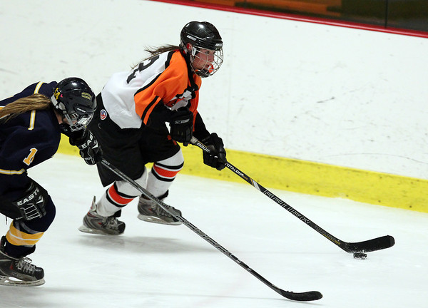 Woburn: Beverly senior captain Livvy Konaxis flies up-ice with the puck against Arlington Catholic on Wednesday evening. David Le/Salem News
