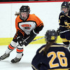 Woburn: Beverly freshman forward Anna O'Neill wheels around carrying the puck in the offensive zone against Arlington Catholic on Wednesday evening. David Le/Salem News