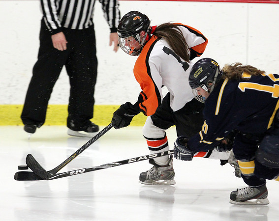 Woburn: Beverly senior forward Livvy Konaxis flies into the  offensive zone against Arlington Catholic. David Le/Salem News