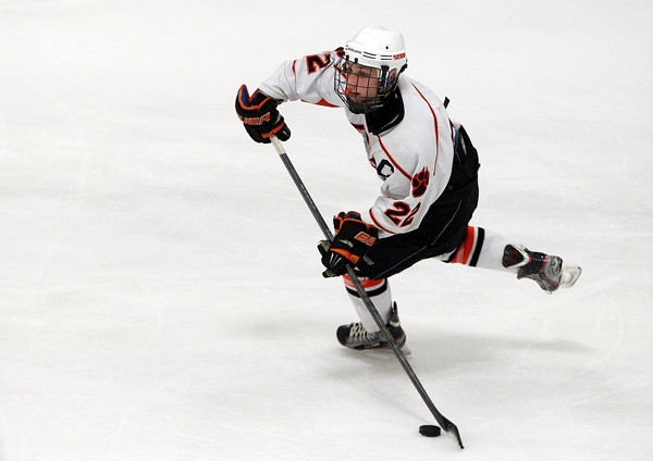 Woburn: Beverly junior captain Connor Irving controls the puck against Danvers on Friday evening. David Le/Salem News