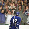 Woburn: Danvers High School fans emphatically cheer on senior captain AJ Couto as he skates off the ice on Friday evening. Couto scored a hat trick to lead Danvers to a 4-3 victory over NEC rival Beverly in the D2 North quarterfinals, including the game winner with 11 seconds left in the third period of play. David Le/Salem News