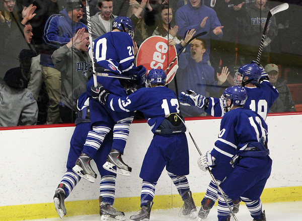 Woburn: The Danvers Falcons celebrate senior captain AJ Couto's second goal of the game against the boards on Friday evening. David Le/Salem News