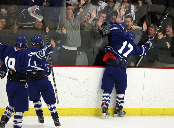 Woburn: Danvers senior captain AJ Couto celebrates his third period, go-ahead goal against the glass in front of the Danvers fan section. David Le/Salem News
