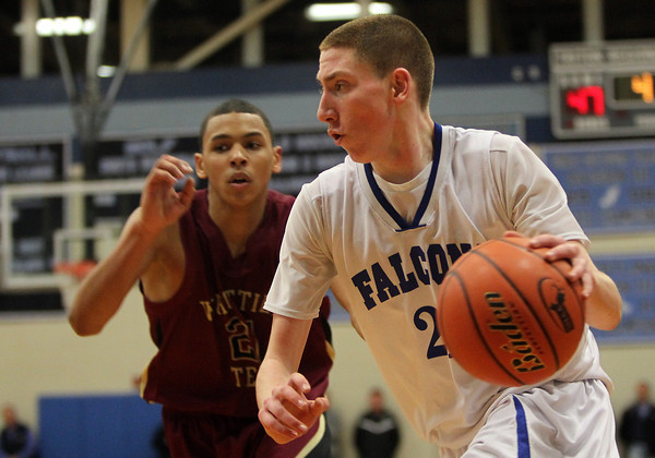 Byfield: Danvers sophomore Vinny Clifford drives hard into the lane against Whittier Tech on Tuesday evening. Clifford scored 14 points to help the Falcons to a convincing 69-51 win over the Wildcats to advance to the D3 North Final. David Le/Salem News