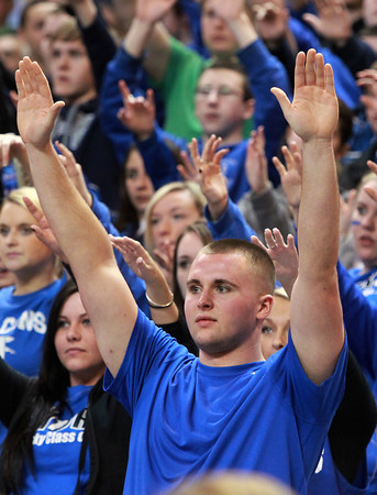 Worcester: Danvers senior Connor Morrison raises his hands in the air during free-throw attempts late in the Falcons 66-50 win in the D3 State Championship game on Saturday afternoon. David Le/Salem News