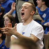 Worcester: Danvers High School senior Dom Boisvert emphatically cheers on the Falcons as they took down Smith Academy 66-50, to repeat as D3 State Champions on Saturday afternoon. David Le/Salem News