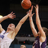 Worcester: Danvers senior captain Nick Bates, left, battles for a rebound with Smith Academy's Mathew Sulda, during the third quarter of play. Bates scored 12 points, grabbed 17 rebounds and added two blocks to help the Falcons to a 66-50 win in the D3 State Chamionship, the second State Title for Danvers in as many years. David Le/Salem News