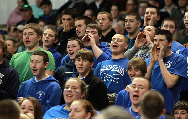 Worcester: Danvers High School fans cheer on the Falcons as they took on Smith Academy in the D3 State Championship on Saturday afternoon at the DCU Center in Worcester. David Le/Salem News