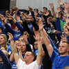 Worcester: Danvers High School fans cheer on the Falcons in the D3 State Championship at DCU Center in Worcester. David Le/Salem News