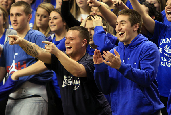 Boston: Danvers High School seniors Ray Arocho and Anthony Garron cheer on the Falcons after Danvers took down Martha's Vineyard 50-47 in the D3 State Semi-Final to advance to their second straight D3 State Championship game. David Le/Salem News