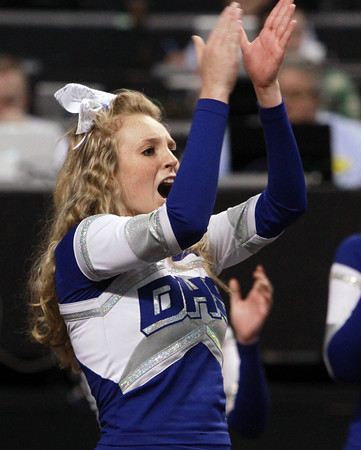 Boston: Danvers senior cheerleader Grace Lopilato cheers on the Falcons during the D3 State Semi-Final on Tuesday afternoon at the TD Garden. David Le/Salem News
