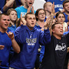 Boston: Danvers High School senior Connor Morrison, junior Ryan Chasse, and senior Ray Arocho cheer on the Falcons as they took on Martha's Vineyard on Tuesday afternoon in the D3 state semi-final at the TD Garden in Boston. David Le/Salem News