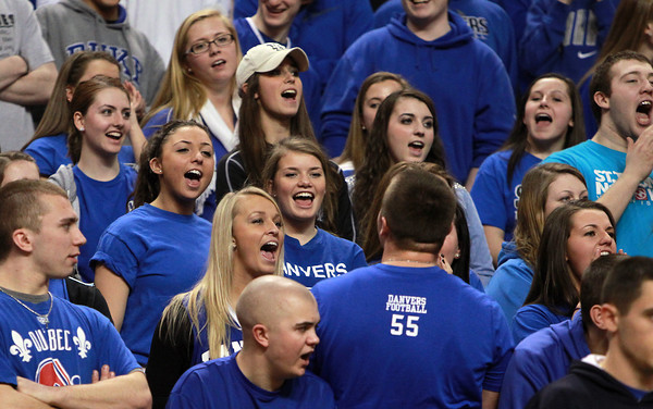 Boston: Danvers fans cheers on the Falcons as they took on Martha's Vineyard on Tuesday afternoon in the D3 state semi-final. David Le/Salem News