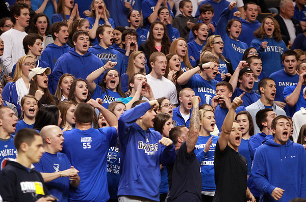 Boston: The Danvers High School fan section cheer on the Falcons as they took on Martha's Vineyard in the D3 State semi-final at the TD Garden on Tuesday evening. Danvers returns to the D3 state title game for the second straight year and will look to defend their championship on Saturday. David Le/Salem News