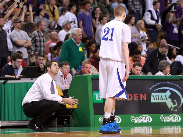 Boston: Danvers Head Coach John Walsh talks with sophomore Vinny Clifford during the D3 State Semi-Final on Tuesday afternoon at the TD Garden in Boston. David Le/Salem News