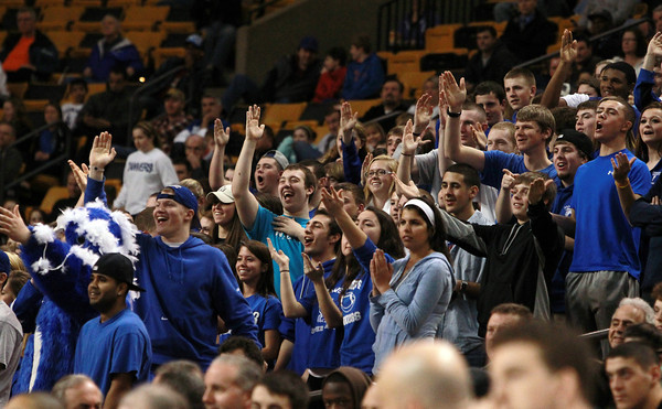 Boston: The Danvers High School fan section taunts the Martha's Vineyard fans as time winds down in a close contest, a 50-47 Falcons win at the TD Garden in Boston on Tuesday afternoon. David Le/Salem News