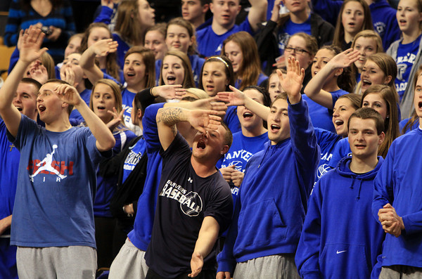 "Boston: The Danvers High School fan section sings a rowdy chorus of ""Na Na Hey Hey Kiss Him Goodbye"" as Martha's Vineyard fans leave their seats at the TD Garden after the Falcons defeated the Vineyarders 50-47 in the D3 State Semi-Final on Tuesday afternoon. David Le/Salem News"
