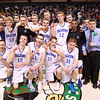 Boston: The Danvers High School boy's basketball team gathers at center court of the TD Garden for a photo. With a 50-47 win over Martha's Vineyard in the D3 State Semi-Final, Danvers returns to the D3 State Championship game for the second straight year. David Le/Salem News