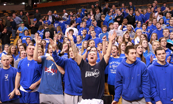 Boston: Danvers High School fans cheer loudly as the Falcons leave the court following a 50-47 win over Martha's Vineyard in the D3 State Semi-Finals on Tuesday afternoon at the TD Garden. David Le/Salem News