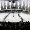 North Billerica: The Danvers Falcons and Concord-Carlisle Patriots line up for the National Anthem prior to the start of the D2 North semi-final on Monday evening at Chelmsford Forum. David Le/Salem News