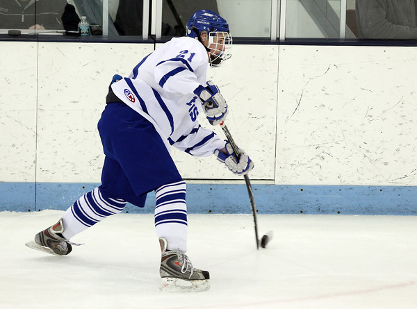 North Billerica: Danvers senior defenseman Shea Doyle takes a slap shot on net against Concord-Carlisle. Doyle and the Falcons took down the Patriots 5-3 in the D2 North semi-final on Monday evening at Chelmsford Forum. David Le/Salem News